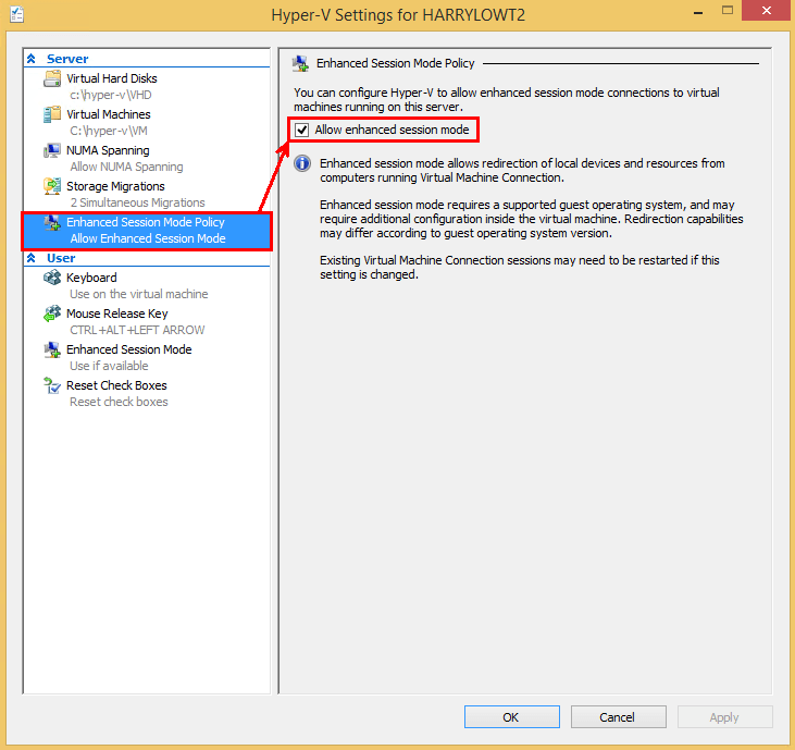 Hyper-V Enhanced Session Mode - Turn On or Off | Windows 8