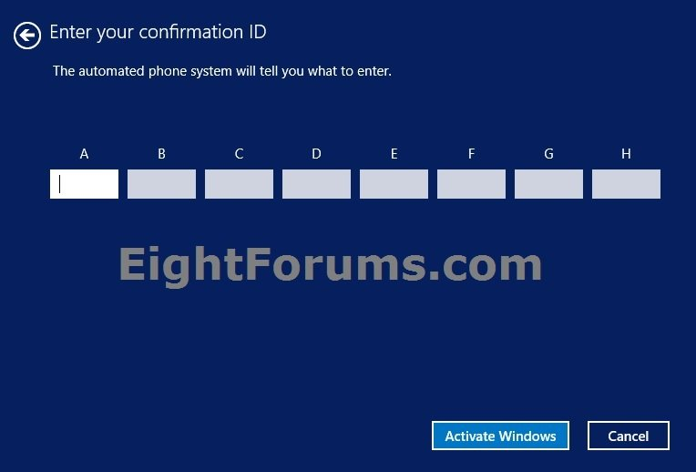 windows 8 activation id by phone