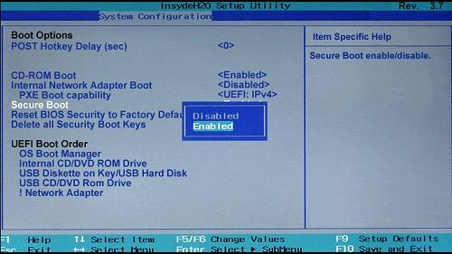 windows rt disable secure boot