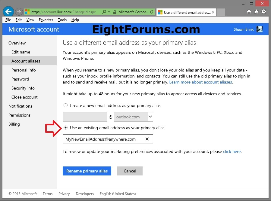 Microsoft Account - Change Email Address in Windows 8 | Windows 8