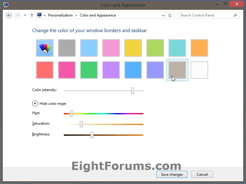 Window Color and Appearance - Change in Windows 8   Windows