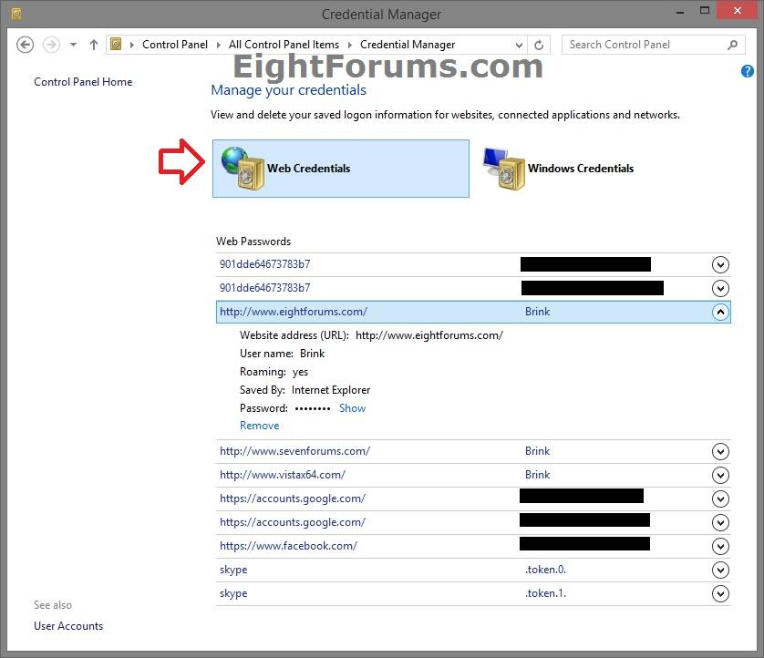 Internet Explorer 11 Store your Passwords - Turn On or Off