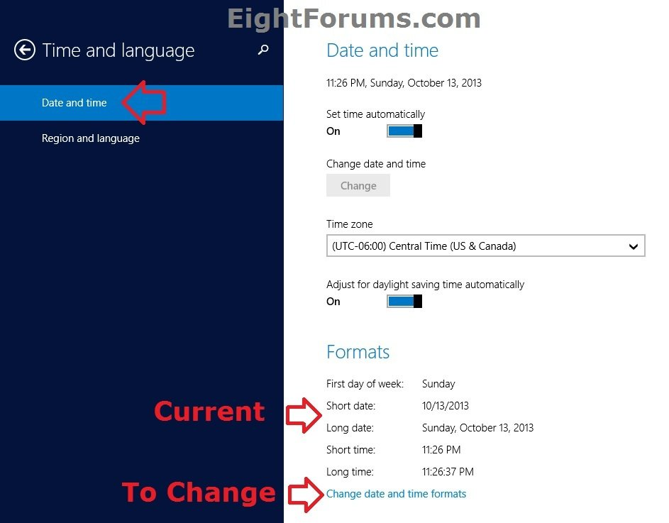 Date and Time Format - Change in Windows 8 | Windows 8 Help
