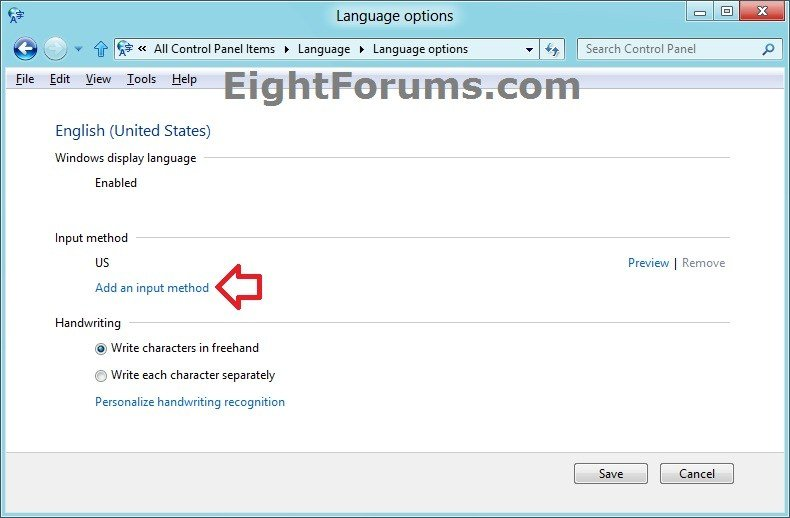 Input Methods - Add or Remove for Keyboard Layout in Windows