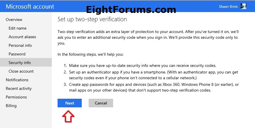 Microsoft Account Two-step Verification - Turn On or Off
