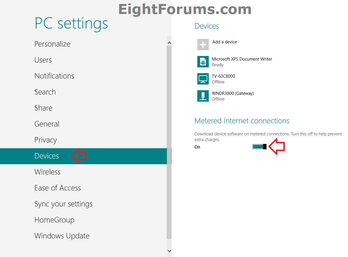 Metered Internet Connections for Devices - Turn On or Off in Windows