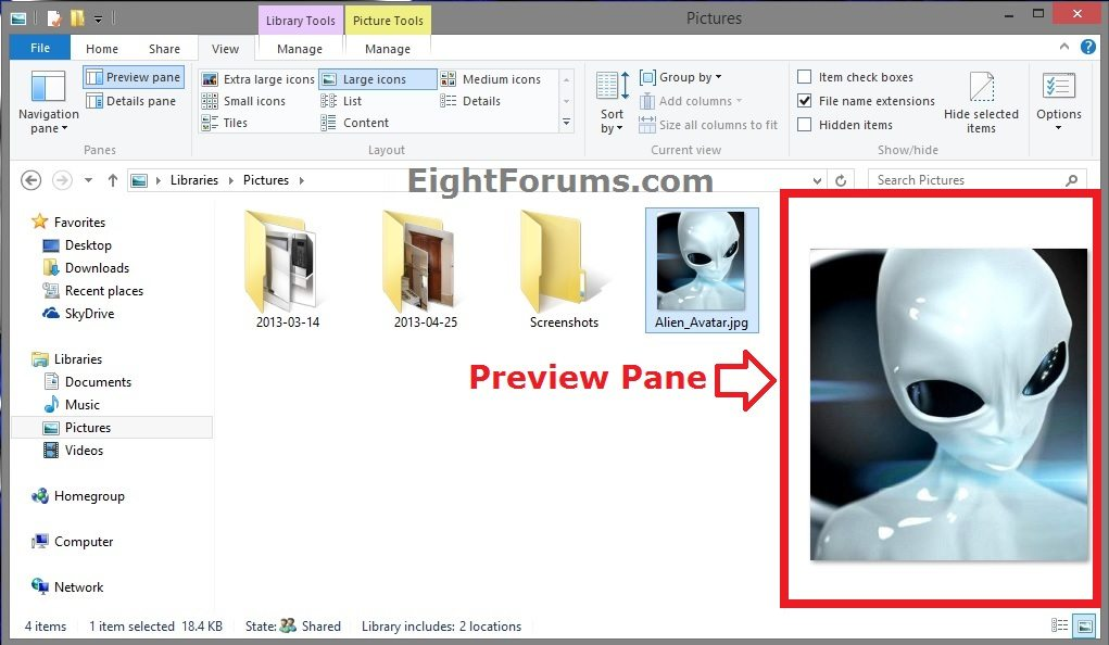 Preview Pane - Show or Hide in Windows 8 File Explorer