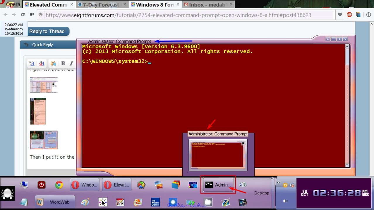 windows 8 cmd with admin rights