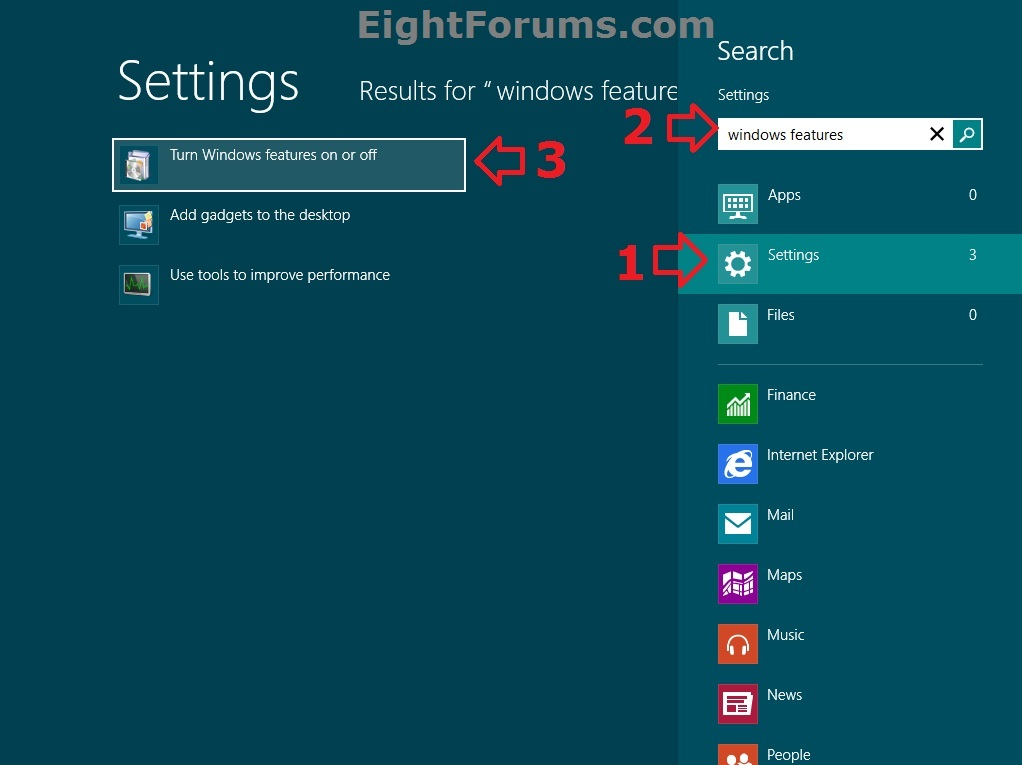 Windows Features - Turn On or Off in Windows 8 | Windows 8