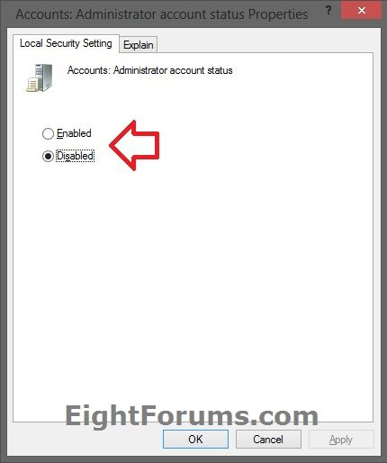Built in administrator account enable or disable in windows 8 secpolc 2g ccuart Choice Image