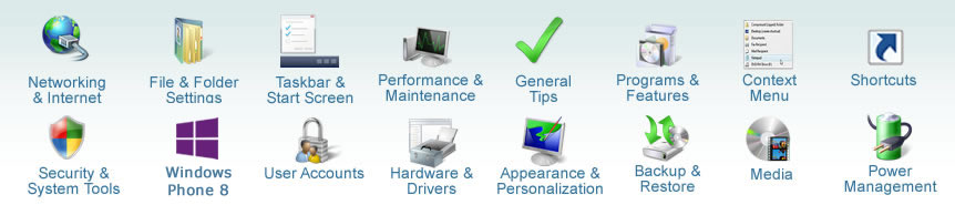 Windows 8 Tutorial Categories